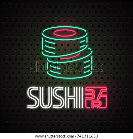Vector logo, design element for sushi, sushi delivery service with neon lights sign. Design element can be used as sticker