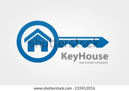 Vector logo design element on white background. Real estate, key, house, home