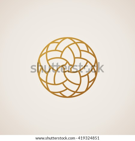 Vector logo design. Geometric round gold islam star logo. Vintage design element in Eastern style. Emblem luxury beauty spa, natural badge for cosmetics