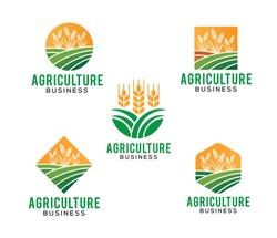 vector logo design illustration of agriculture business, tractor farm, soil farm, crop field, pasture, milk, barn,