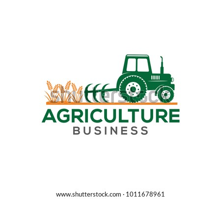 vector logo design illustration of tractor farm, crop land, soil farm, back yard, natural, agriculture business