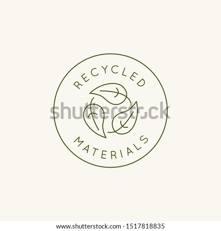 Vector logo design template and emblem in simple line style - recycled materials - badge for sustainable made products and clothes Photo stock ©