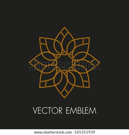 Vector logo design template and emblem made with leaves and lotus flowers - luxury beauty spa concepts - natural badge for cosmetics