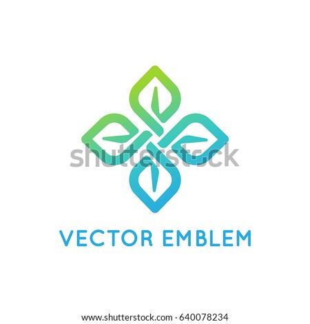 Vector logo design template and emblem with leaves and lines - beauty spa concept - green badge for yoga studios, holistic, alternative medicine centers, natural, organic and vegan food products
