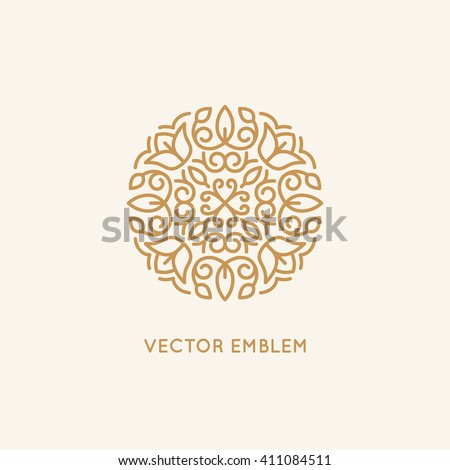 Vector logo design template and monogram concept in trendy linear style - floral badge - emblem for fashion, beauty and jewelry industry