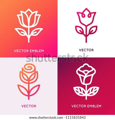 Vector logo design template and monogram concepts in trendy linear style -  flowers and leaves - signs for cosmetics and natural beauty products packaging