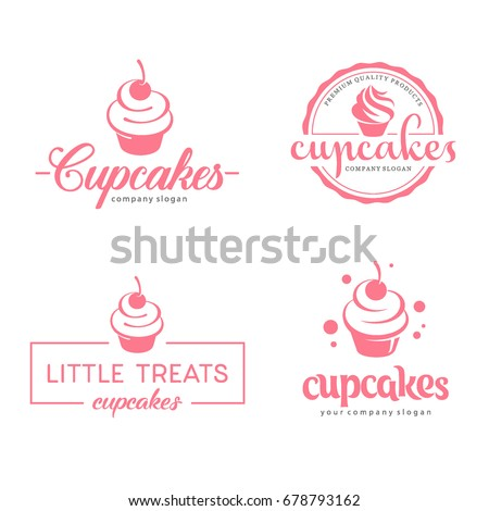 Vector logo design template. Cupcakes bakery icon.