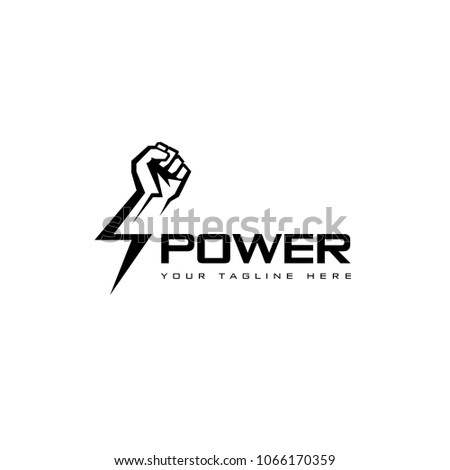 Vector logo design template. Fist male hand, proletarian protest symbol. Power sign