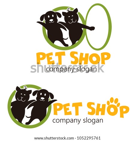 Vector logo design template for pet shops, veterinary clinics and animal shelters. Cartoon logo illustration. Vector logo template with cat and dog.