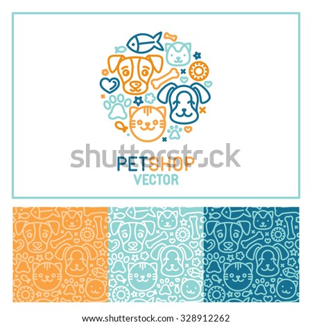 Vector logo design template for pet shops, veterinary clinics and homeless animals shelters - circle made with mono line icons of cats and dogs - circle badge and seamless patterns for packaging