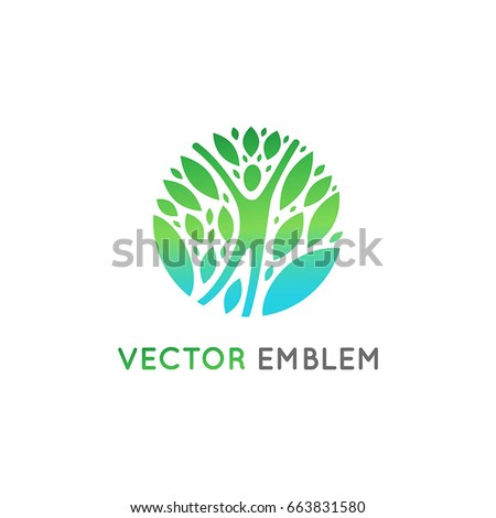 Vector logo design template - healthy and natural life concept - human figure with green leaves