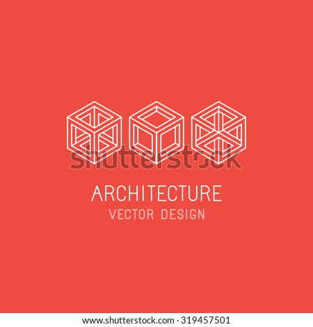 Vector logo design template in linear simple style - emblem and illustration for technology and app development, program architecture, game studio and new media artist - mono line cube icons
