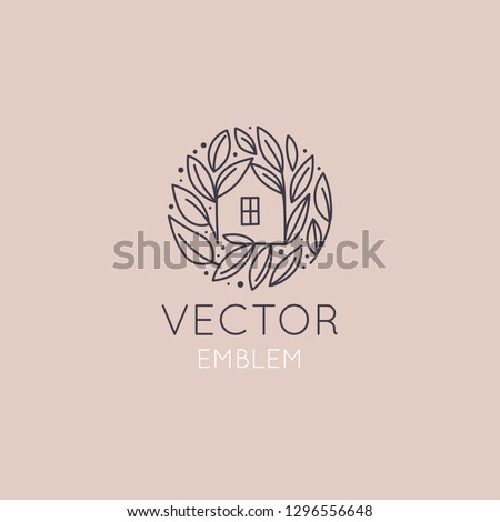 Vector logo design template in simple linear style - home decor store emblem, scandinavian and minimal interior decoration, accessories and objects