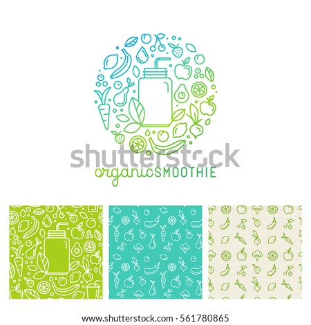 Vector logo design template in trendy linear style with icons and signs - emblem for smoothie packaging and seamless patterns - fruits, vegetables and glass jar