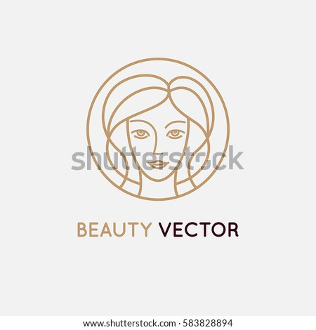Vector logo design template in trendy linear style - woman's face - abstract emblem for cosmetics and beauty products