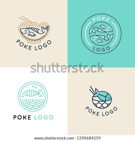 Vector logo design template logo design in trendy linear style - poke bowl - emblem for food delivery, menu, restaurant, cafe