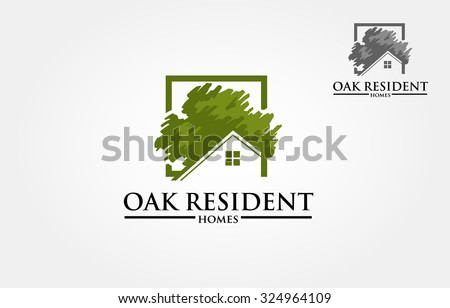 Vector logo design template of oak tree and house that made from a simple scratch. it's good for symbolize a property or housing business.