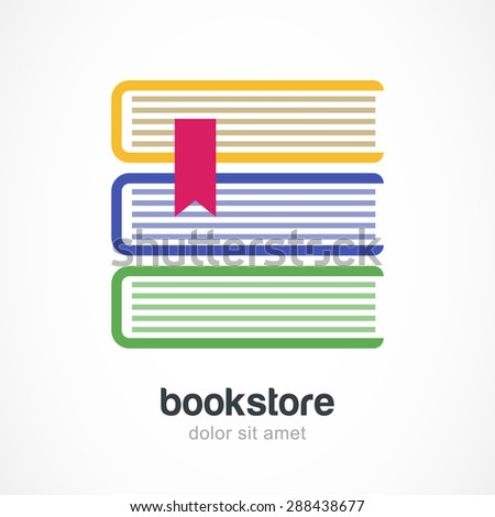 electronic address book template - vector logo design template three multicolor books flat