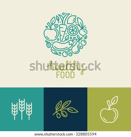 Vector logo design template with fruit and vegetable icons in trendy linear style - abstract emblem for organic shop, healthy food store or vegetarian cafe