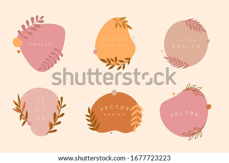 Vector logo design templates in simple minimal style - floral frame with copy space for text or letters - abstract background for social media posts and stories