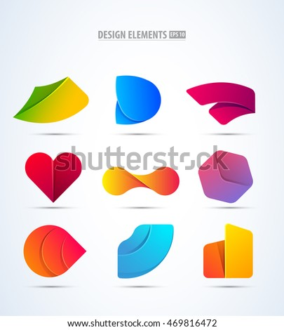 Vector logo elements set. Modern flat and material design collection. App icon