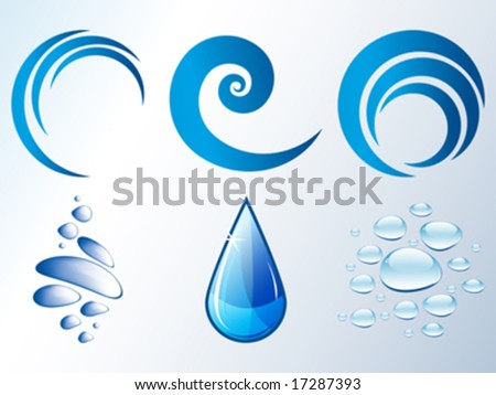 Vector logo elements, water drops, bubbles and waves - stock vector