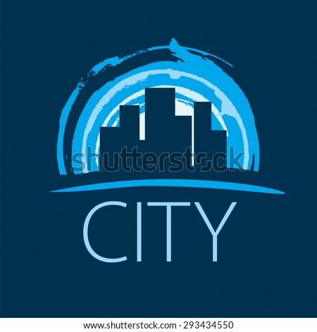 vector logo evening city at