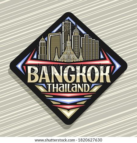 Vector logo for Bangkok, black road sign with outline illustration of modern bangkok city scape on dusk sky background, art design tourist fridge magnet with unique letters for words bangkok, thailand