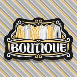 Vector logo for Boutique, black sign board with illustration of women's dresses and grey men's jackets, original brush typeface for word boutique, fashion concept on luxury striped fabric background.