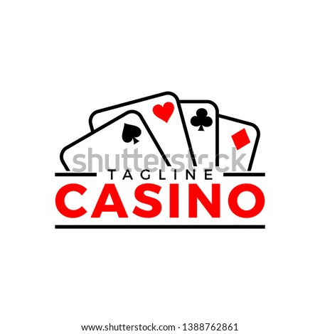 Vector logo for Casino: gambling sign with roulette wheel, playing cards, blue dice craps, casino, gaming chips and red lucky symbol - 777 icon for gamble game. - Vector