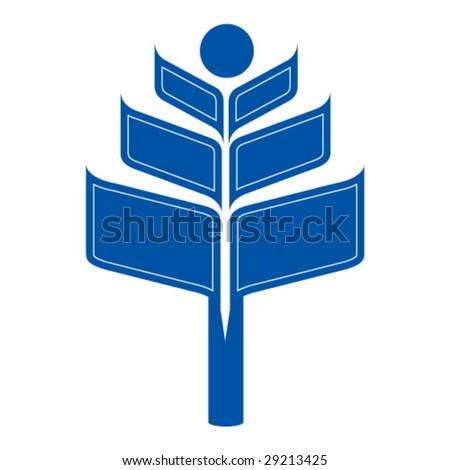 Vector logo for education - school, library, reading or book club.