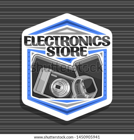 Vector logo for Electronics Store, white decorative signboard with illustration of set modern web electronic products, sign board with original typeface for words electronics store on dark background.