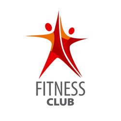 vector logo for fitness in the form of a red star