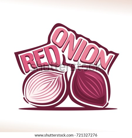 vector logo for fresh red onion