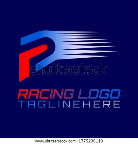 Vector logo for motor racing, motocross, car racing and motorcycle clubs with illustrations of racing helmets or racing tracks which are the initials of the red and blue 'FD' or 'RD' or 'R' or 'D'. Stock fotó ©