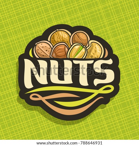 Vector logo for Nuts, cut sign with pile of healthy walnut, australian macadamia, sweet almond, forest hazelnut, cracked pistachio, peanut in nutshell, veg mix label with text nuts for vegan store.