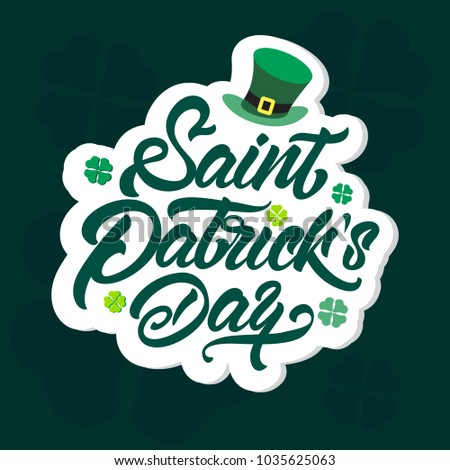Vector logo for St. Patrick's Day on . Irish Clover composition with green leprechaun hat, label saint patrick day. Vector illustration design.