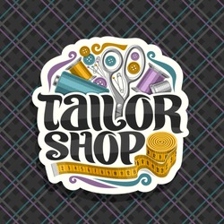 Vector logo for Tailor Shop, cut paper label with set of sewing tools, roll of yellow measure tape for suit apparel, original brush typeface for words tailor shop, signboard for menswear boutique.