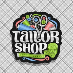 Vector logo for Tailor Shop, dark sticker with set of sewing equipment, roll of green measure tape for suit apparel, original brush typeface for words tailor shop, sign board for menswear boutique.