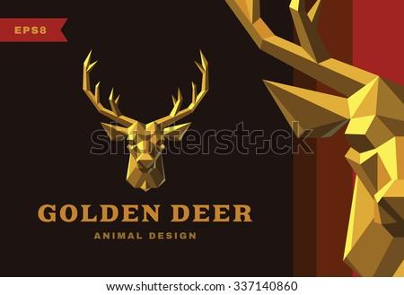 vector logo golden deer