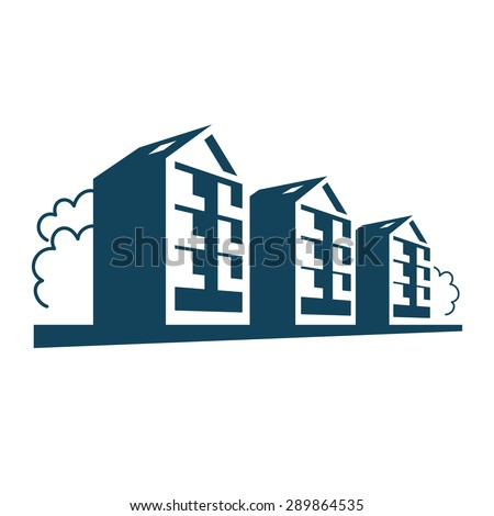 Vector logo. Group of apartment houses. Simple sign of real estate. Abstract icon of residential development in town. Perspective view of street with dwelling buildings and trees