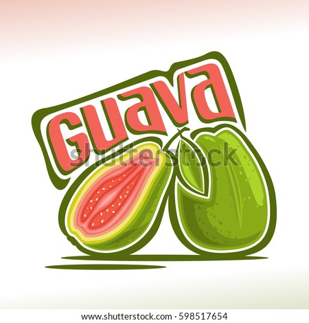 vector logo guava fruit  still