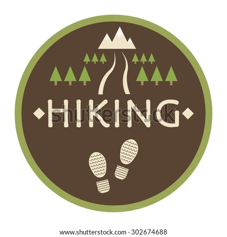 Vector logo Hiking. Design icon, travel, Hiking and outdoor recreation. Trail, the road through the forest leading to the mountains.The symbol of the traveler.Traces of shoes on a brown background.