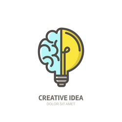 Vector logo icon, emblem with brain and light bulb. Abstract flat linear illustration. Design concept for start up, business solutions, high technology, development and innovation, creativity.
