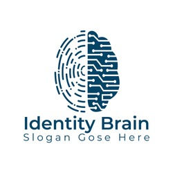 Vector Logo Icon With Brain And Fingerprint. Digital brain plus fingerprint vector template design.