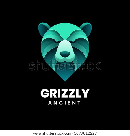 Vector Logo Illustration Grizzly Gradient Colorful Style. Stock fotó ©