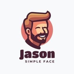 Vector Logo Illustration Jason Simple Mascot Style.