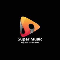 Vector Logo Illustration Super Music Gradient Colorful Style