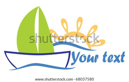 Vector logo in a yacht on the sea and the rising sun for use in tourist companies