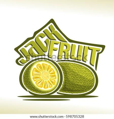 Vector logo Jackfruit Fruit: still life of 2 whole and cut half jackfruit, fresh thai exotic fruits chakka, abstract cartoon icon artocarpus heterophyllus with title text for label, isolated on white.